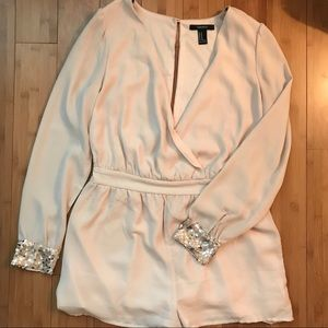 Blush Sequined Sleeve Romper